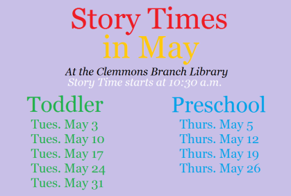 May Story Times at the Clemmons Branch