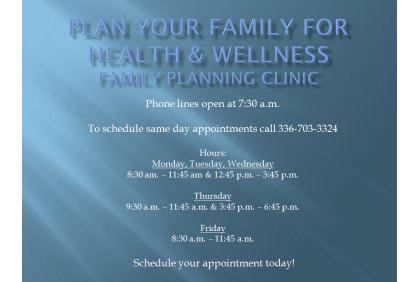 Plan Your Family for Health and Wellness:  Family Planning Clinic