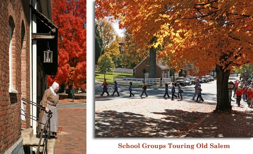 School groups touring Old Salem
